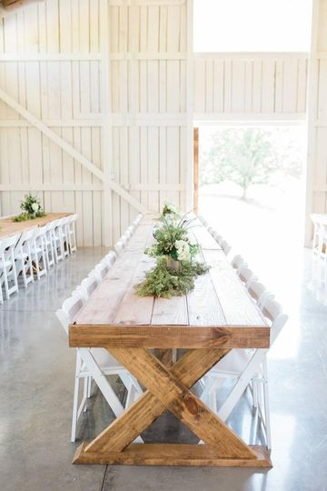 Authentic wooden reception tables