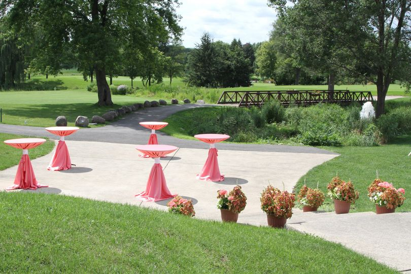 Cocktail tables set-up at outdoor event venue