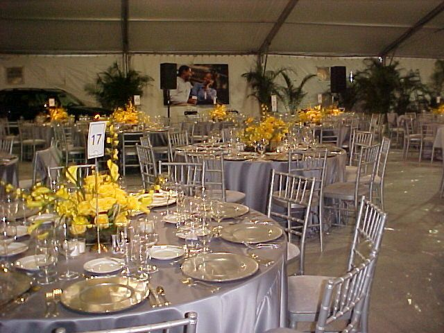 Silver table setup