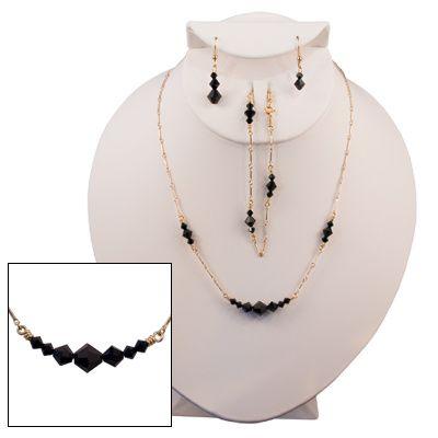 Jet Black Diamond-Cut Austrian Crystal  Item #GF0017 (Gold-Filled) Item #SS0017 (Sterling Silver)...