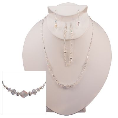 AB Diamond-Cut Clear Austrian Crystal with Sterling Silver Corrugated Accents  Item #SS0018...