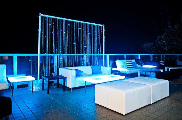 3E Exquisite Events & Entertainment Lounge Lighting setup for Aimee & Jarrod Carrol at the Malibu...