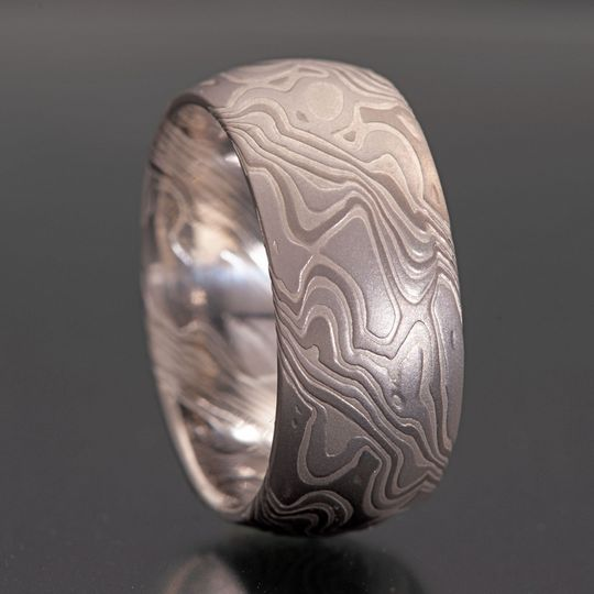 Platinum Palladium Mokume Ring