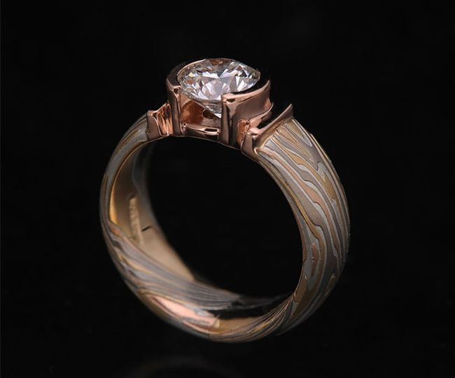 Custom Diamond Mokume Ring
