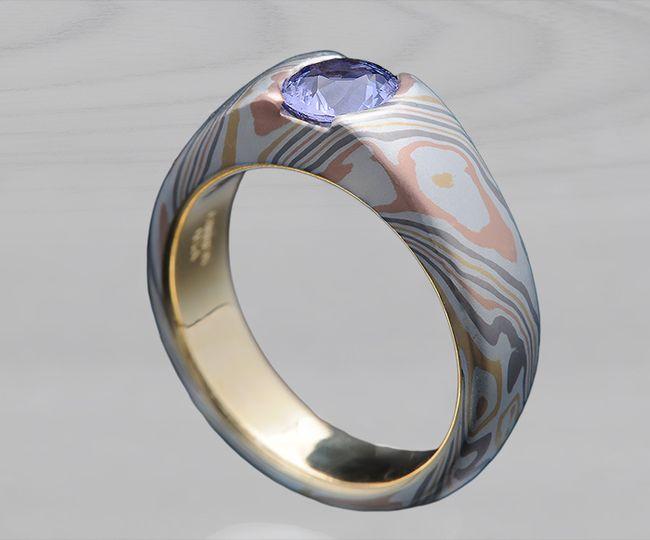 Sapphire Mokume Engagement