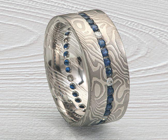 Palladium Mokume Channel Ring