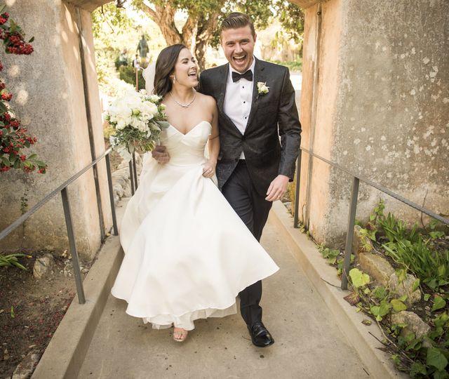Happy Couple at Carmel Mission Basilica
