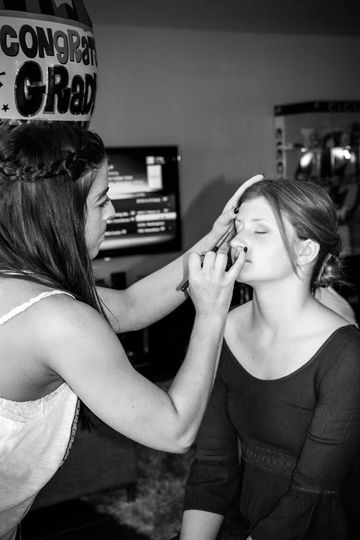 The bride and the makeup artist