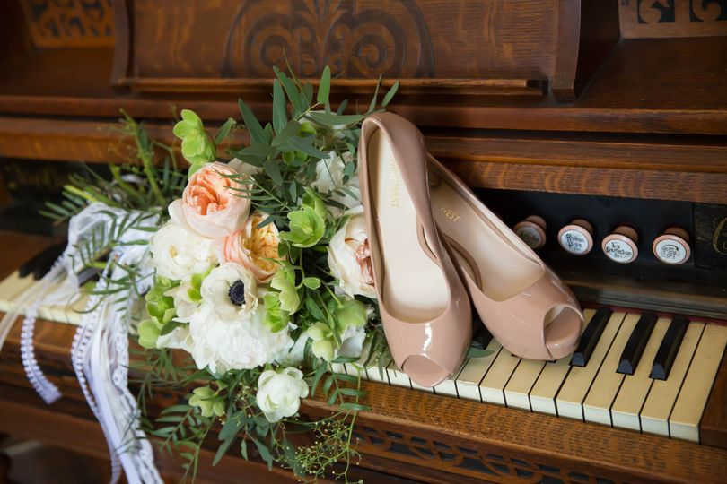 Bouquet, shoes, and piano