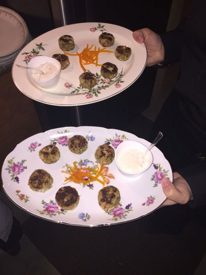 Passed Hors d'Oeuvres on Vintage Platters