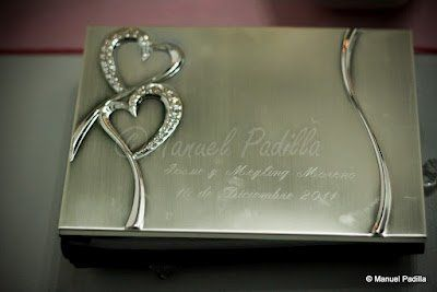 Crystal Heart Silver Personalized Guest Book Set