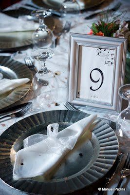 Table Number framed in Silver with touch of diamond crystals