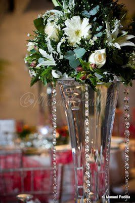 Floral Centerpiece with hanging crystals