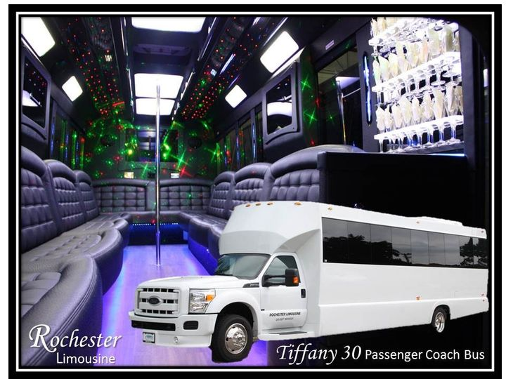 Tiffany 30 Passenger Coach Bus  25 to 30 Passengers  4 46″ Plasma TVs  CD/DVD/Mp3/iPod  Rockford...