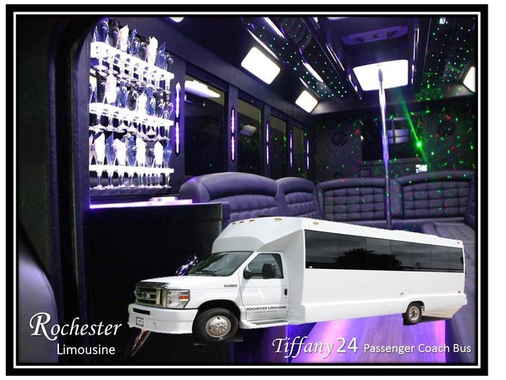 Tiffany 24 Passenger Coach Bus 20 to 24 Passengers 4 Plasma TVs CD/DVD/Mp3/iPod Large Bars,...