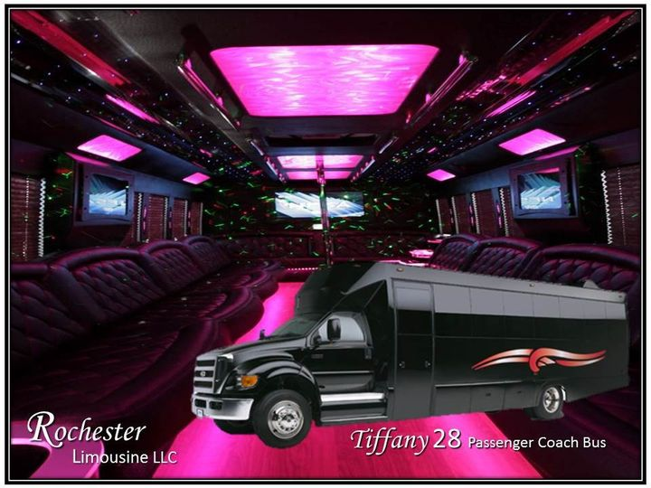 Tiffany 28 Passenger Coach Bus  25 to 28 Passengers  4 46″ Plasma TVs  CD/DVD/Mp3/iPod  Rockford...