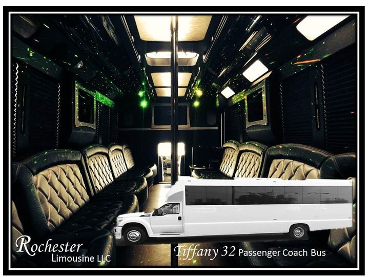 Tiffany 32 Passenger Coach Bus 27 to 32 Passenger 4 Flat screen TV's CD/DVD/MP3 Rockford Fosgate...