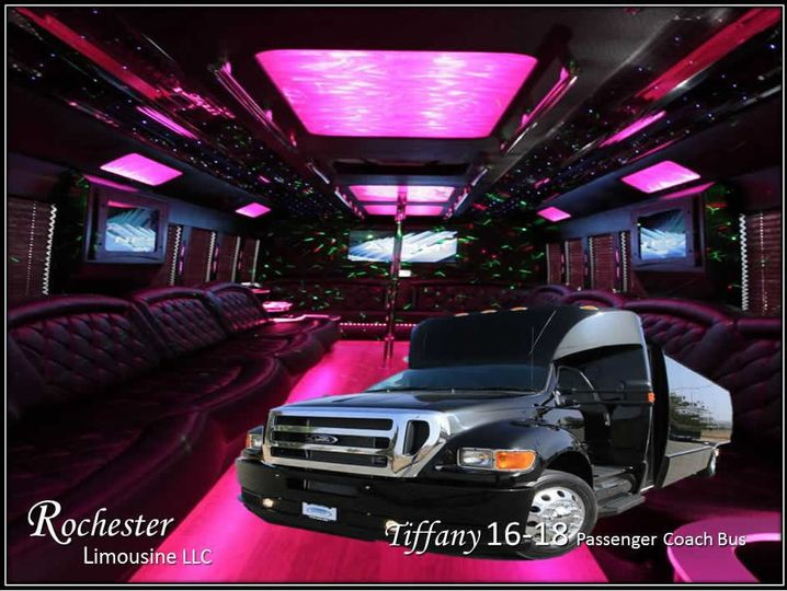 Tiffany 16-18 Passenger Coach Bus 16 to 18 Passenger Party Bus 2 39″ Flat Screen TV's DVD/MP3/CD...