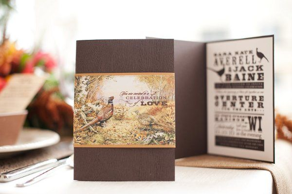 Pheasant themed invitation set with playbill design. Features a woodgrain embossed paper,...