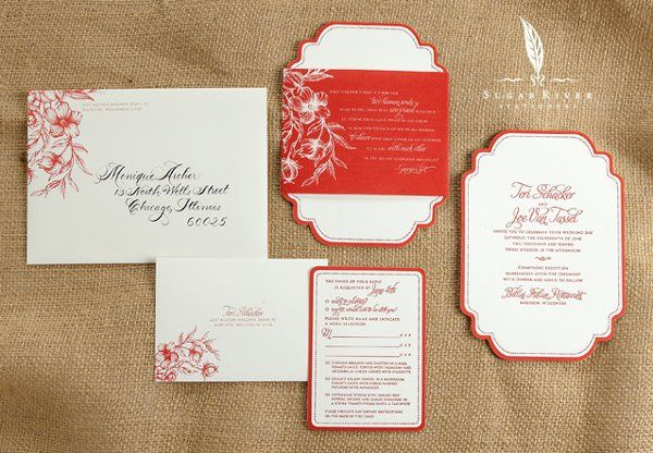 Custom designed invitation suite for early summer wedding. Featuring die cut, letterpress invitation...