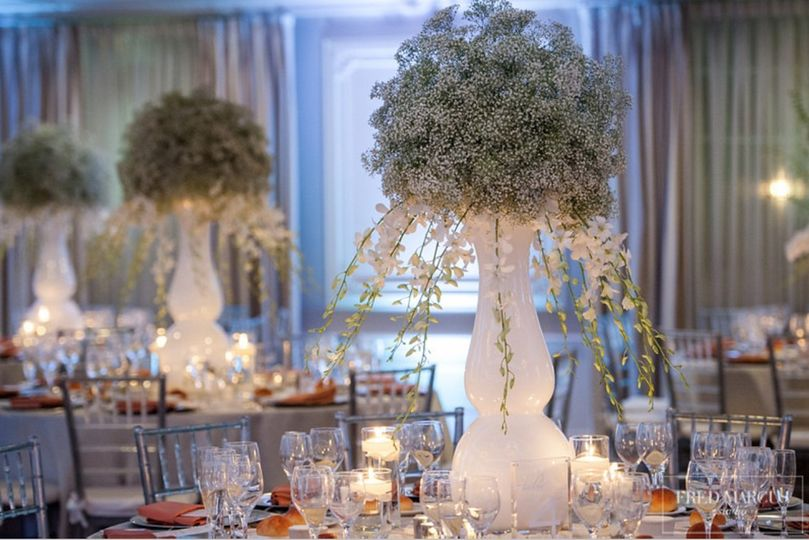 Candle lights and raised centerpieces