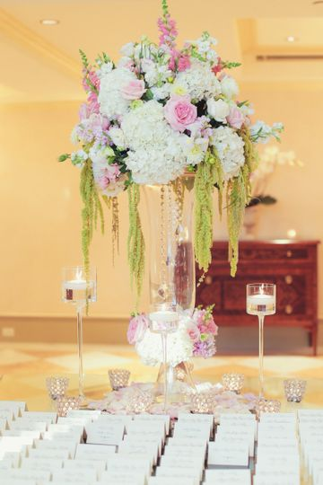 Raised floral centerpiece and place cards