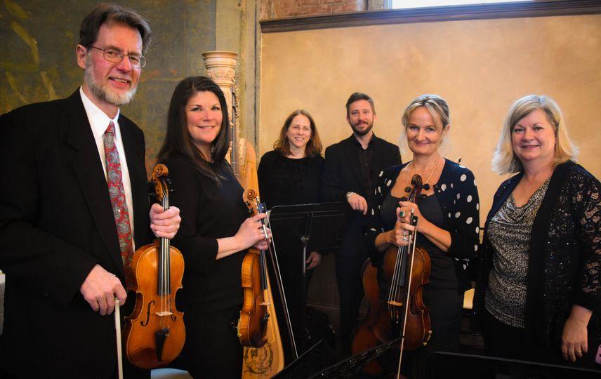 String Quartet with harpist and vocalist, indoor wedding ceremony