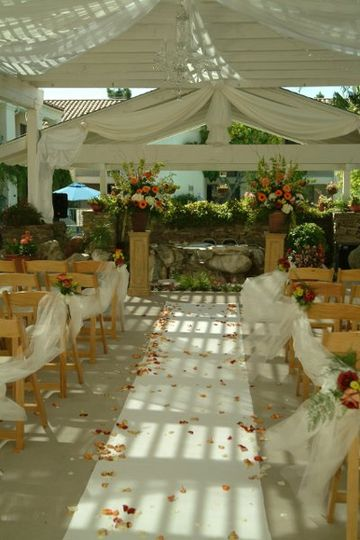 Posada Royale Courtyard Patio-Wedding Ceremony. View of the water fountain.
