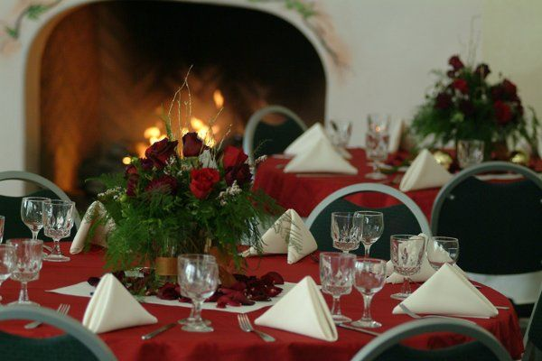 The Club Royale set up for a Holiday event. Showing the cozy fireplace.