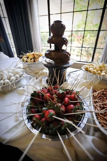 An elegant, yet fun, Chocolate Fountain buffet with a variety of sides such as marshmallows,...