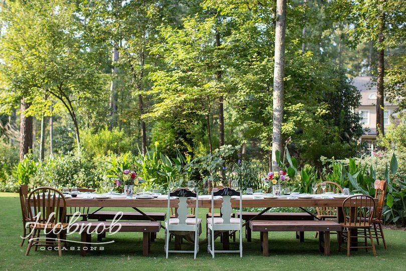 Farm tables with benches and chairs