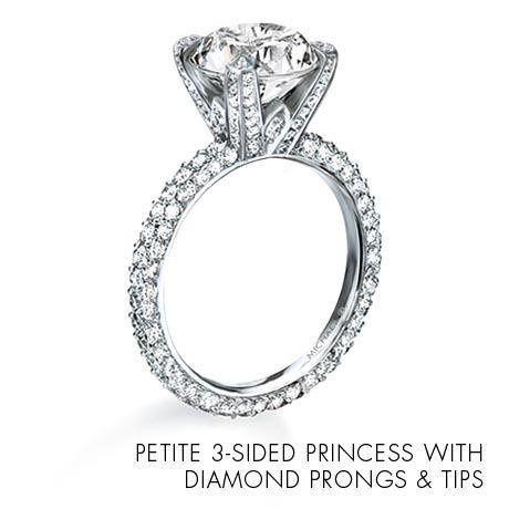 Michael B Three Sided Petite Princess Ring with Diamond Prongs