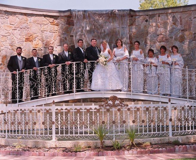 The waterfall bridge in the Ceremony Garden