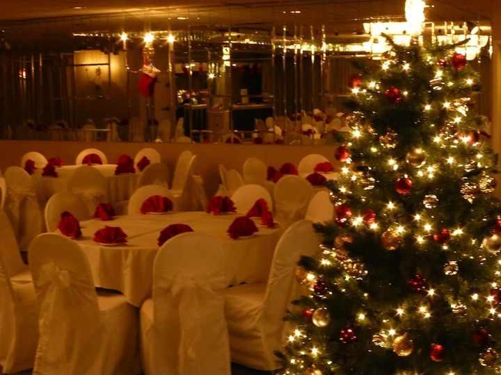 The Crystal Room decorated for a holiday party
