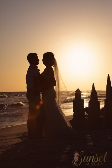 Exchanging vows beneath the sunset