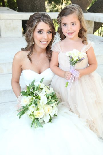 Bride and a flower girl