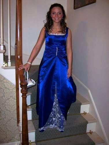 Meghan- Midnight Blue Prom Gown with Silver Lining