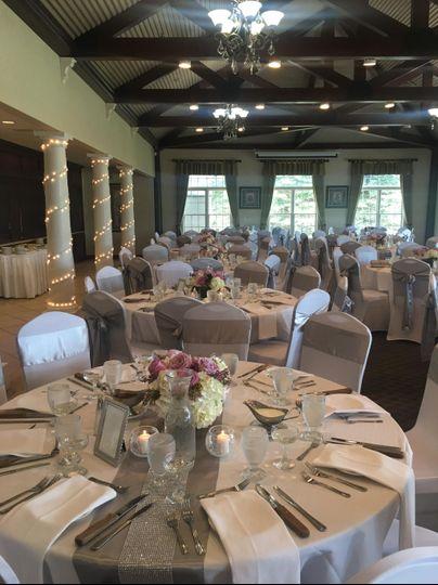 Elegant wedding decor in reception space