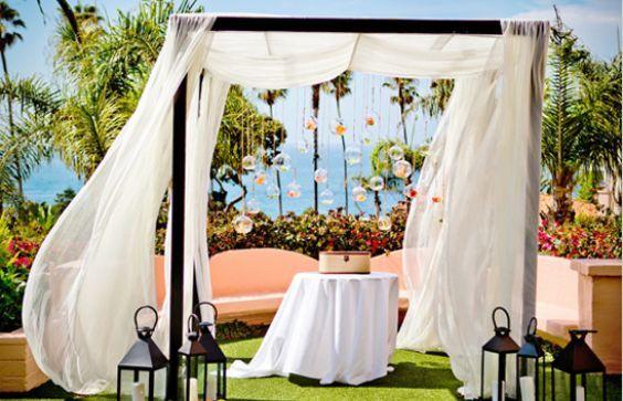 Outdoor wedding ceremony area setup