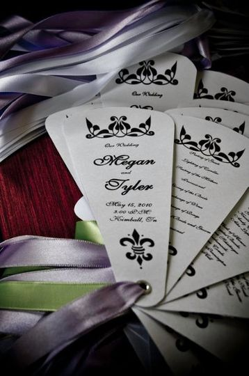 These program fans are perfect for an outdoor or indoor wedding. Each panel displays information...