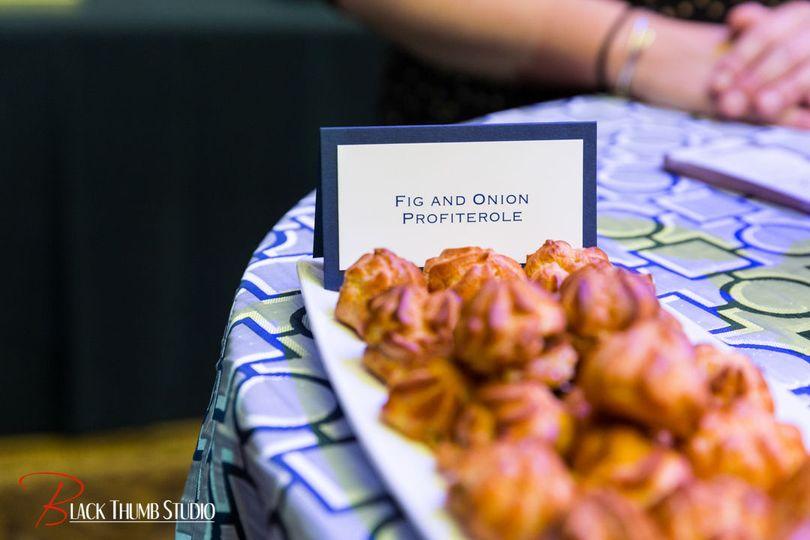 Fig and onion profiterole