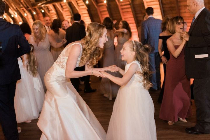 Happy bride and flower girl