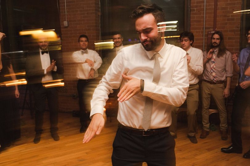 Groom showing his moves