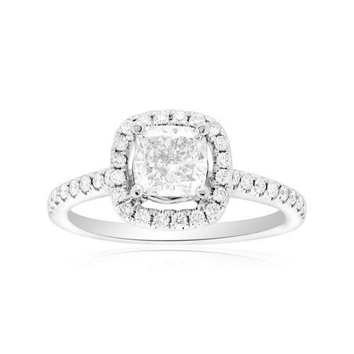 18k White Gold Diamond Engagement Ring  Center Diamond: 1 ct Color: I Clarity: S12 Total Side...
