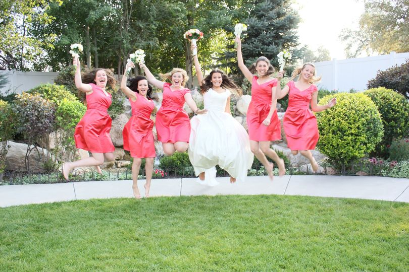 Jumpshot of the bride with her bridesmaids