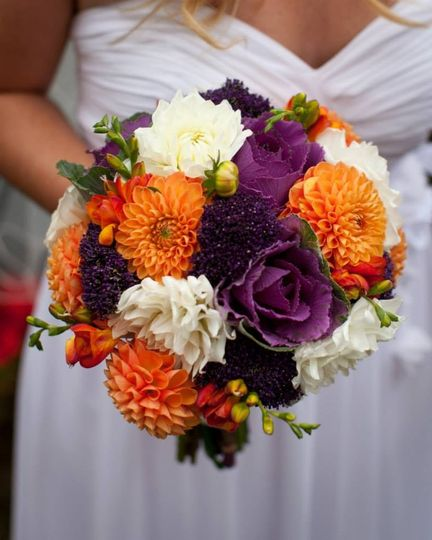 Orange and purple bouquet