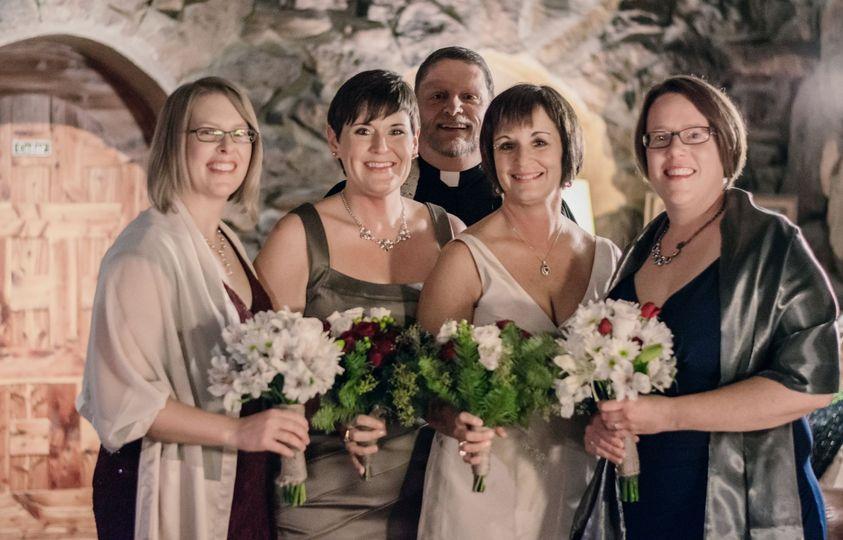 (from l-r) Shawna Eikenberry, Melissa Stagliano, Rev Bob Lawrence, Meredith Chapman, and Amanda...