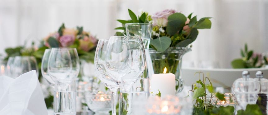 Sparkling glasses and candlelit