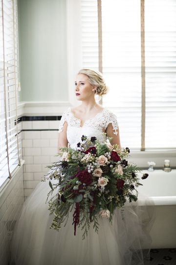 Bridal portrait and bouquet