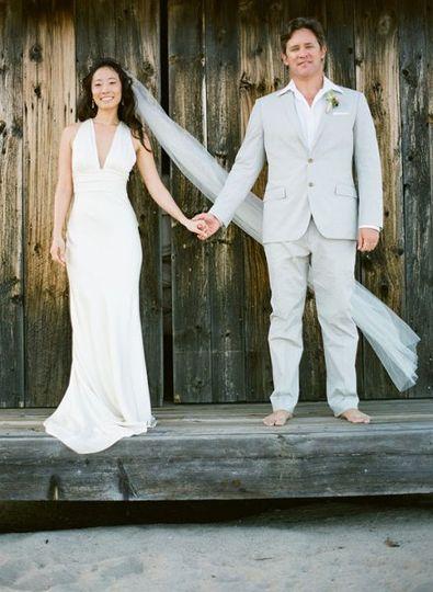 bride, groom, beach wedding